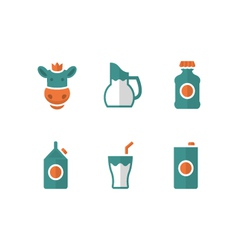 Set flat icons of milk vector