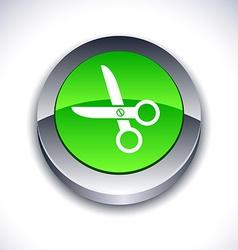 scissors 3d button vector image