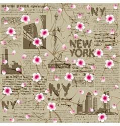 NY cherry blossom vector image