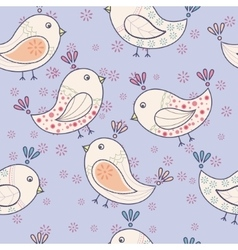 Seamless vintage pattern with birds vector