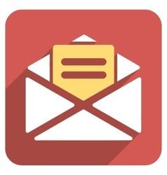 Open mail flat rounded square icon with long vector