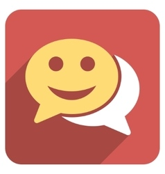 Happy chat flat rounded square icon with long vector
