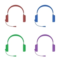 Set of color headphones with vector