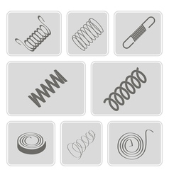 Set of monochrome icons with springs vector