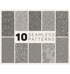 Ten seamless black and white organic vector