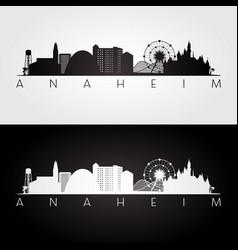 Anaheim usa skyline and landmarks silhouette vector