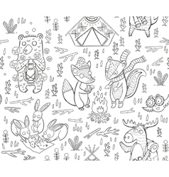 Animal Woodland Camping sketch vector image vector image