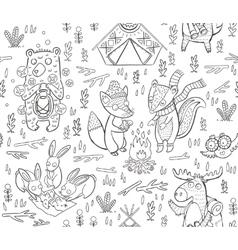 Animal woodland camping sketch vector