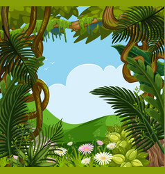 background scene with flowers and trees in forest vector image