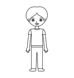 Boy silhouette with informal suit vector