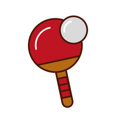 Brightly ping pong paddle and ball vector