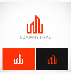 building business line logo vector image