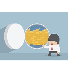 Businessman and opened vault door with gold coins vector