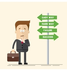 Businessman or manager has to choose the direction vector image