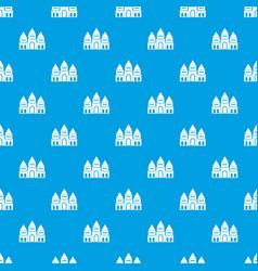 Children house castle pattern seamless blue vector