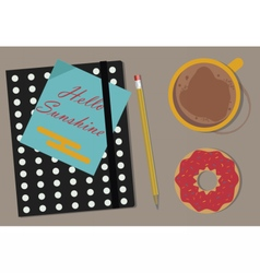 Coffee Agenda and Donuts on the table vector image vector image