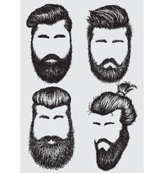 Collection of hipster hairstyles and beards vector