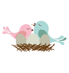 Colorful silhouette of bird in nest with eggs and vector