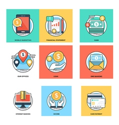 Flat color line design concepts icons 16 vector