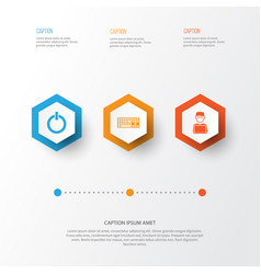 Gadget icons set collection of programmer power vector