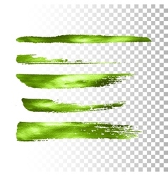 Green metallic paint brush stroke set vector