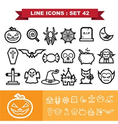 Halloween line icons set 41 vector