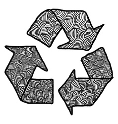 hand drawn doodles recycle sign vector image vector image