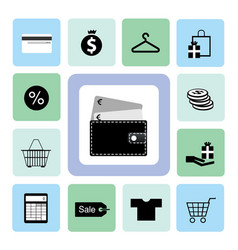 icons shopping set vector image vector image