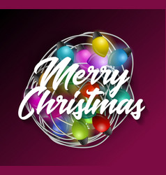 intricate garlands and merry christmas text vector image vector image