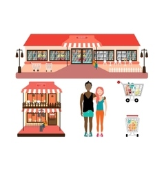Isolated market and cafe facade vector
