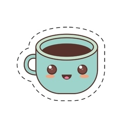 Kawaii blue cup coffee fresh dot line vector