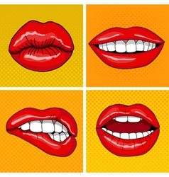 Lips set in retro pop art style vector