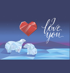 low poly polar bears sitting on ice vector image vector image