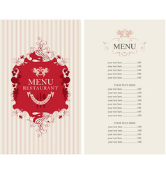 menu with floral ornaments and price list vector image