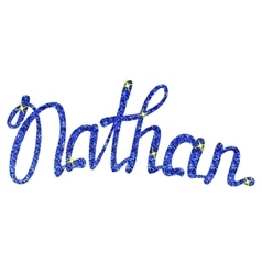 Nathan name lettering blue tinsels vector