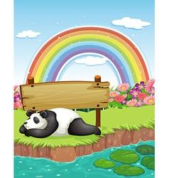 Panda and rainbow vector image vector image