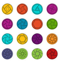 Photo diaphragm icons doodle set vector