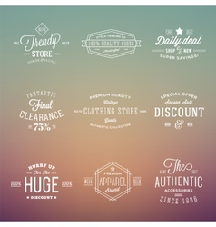 Retro typography labels badges set on abstract vector
