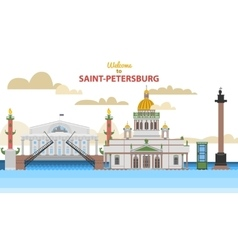 Saint-petersburg flat cityscape vector