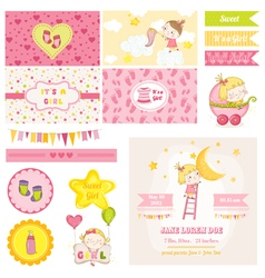 Scrapbook design elements - baby girl shower theme vector