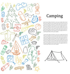 set of hand drawn sketch camping equipment symbols vector image