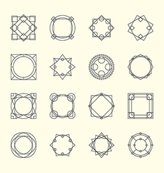Set of Minimal Geometric Vintage Frames vector image