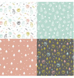 set of seamless pattern with christmas elements vector image vector image