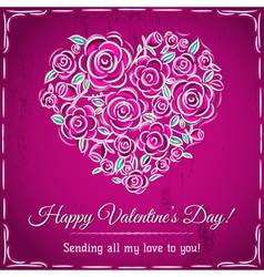 valentine card with heart of flowers vector image