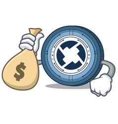 with money bag 0x coin character cartoon vector image vector image