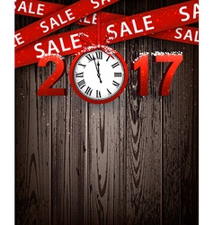 Wooden sale 2017 background with clock vector image vector image