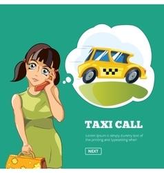 Yong woman calling a taxi vector image vector image