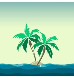 Tropical island and palm trees vector
