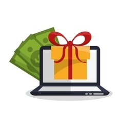 Gift laptop and shopping design vector