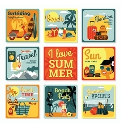 Modern flat design cards of summer vacation vector